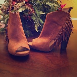 Qupid open toe ankle booties